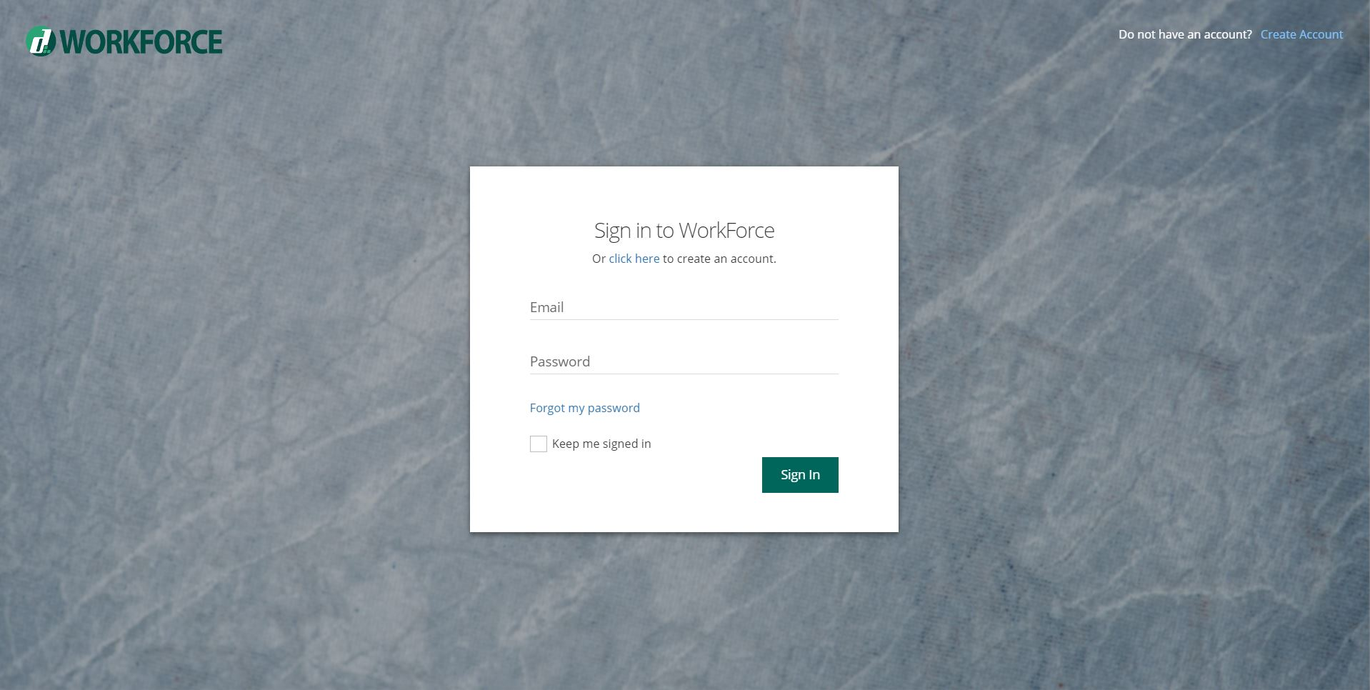 WorkForce Login Screen