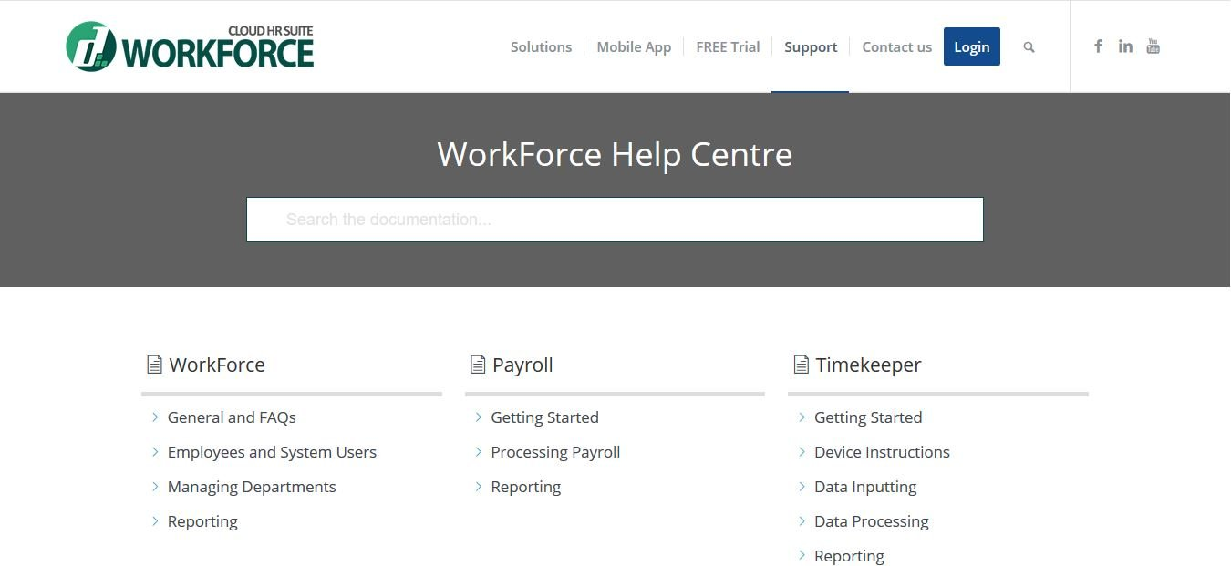 Searchable WorkForce Help Centre